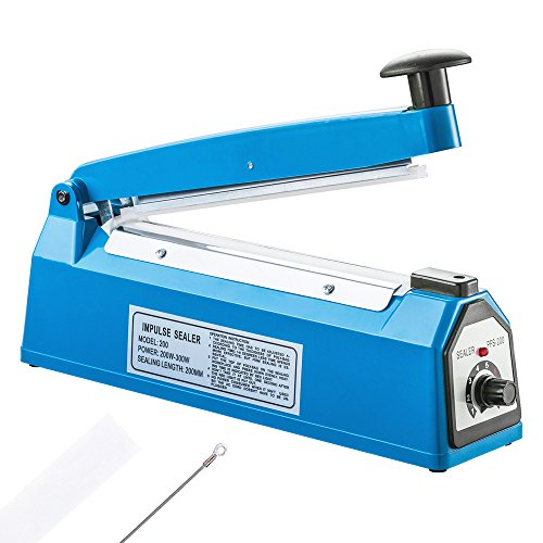 LIMNUO 8 inch Impulse Bag Sealer Poly Bag Sealing Machine Heat Seal Closer,with Extra Heating Element & Teflon Sheet