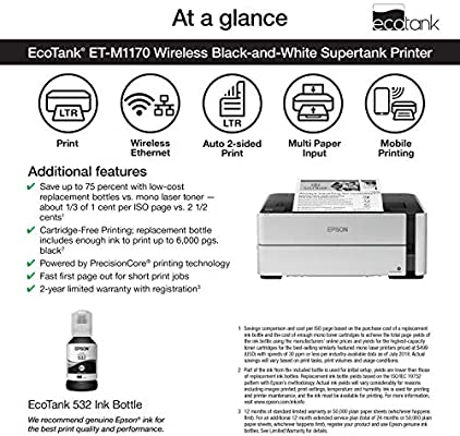 Epson Ecotank ET-M1170 Wireless Monochrome Supertank Printer, Plus Ethernet