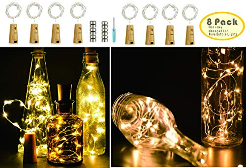 - Wine Bottle Light Cork Light, 20 LED Light Strings, Button Battery Powered - 8 Packs, DIY Mini Lights, Wedding, Christmas, Halloween, Party Decorations or Festive Atmosphere Lights (Warm White)