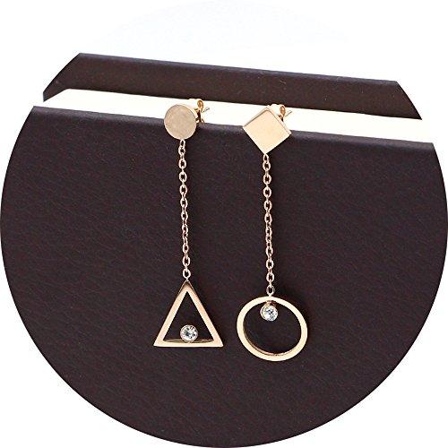 Titanium Steel Rose Gold Plated Hollow Triangle Round Tassel Cubic Zircon Ear Stud Dangle Earrings