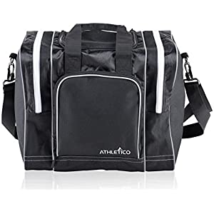 Athletico Bowling Bag for Single Ball – Single Ball Tote Bag with Padded Ball Holder – Fits a Single Pair of Bowling Shoes Up to Mens Size 14