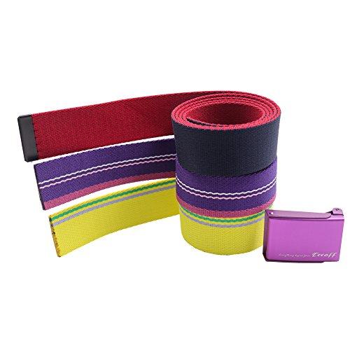 Teeoff 3 Pack Golf Web Belt Reversible Metal Buckle (Purple Buckle)