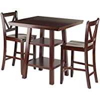 Winsome Wood Orlando 3 Piece Set High Table, 2 Shelves with 2 V-Back Counter Stools