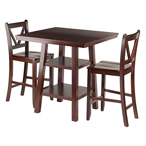 Winsome Wood Orlando 3 Piece Set High Table, 2 Shelves with 2 V-Back Counter Stools by Winsome Wood
