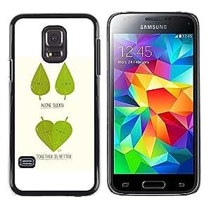 TopCaseStore / la caja del caucho duro de la cubierta de protección de la piel - Funny Cute Leaf Tree Couple - Samsung Galaxy S5 Mini, SM-G800, NOT S5 REGULAR!