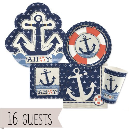 Ahoy Nautical - Party Tableware Plates, Cups, Napkins - Bundle for 16