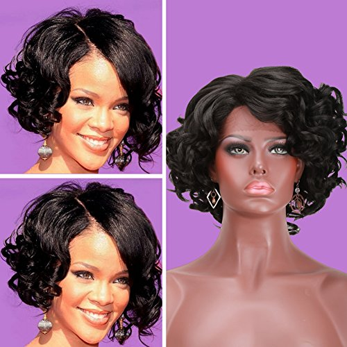 COLODO Short Curly Bob Style Light Yaki Black Color For Women (70s Womens Hairstyles)