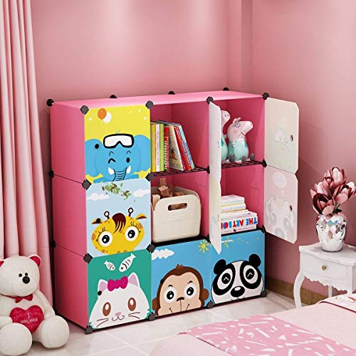 MAGINELS Closet Wardrobe Armoire Cube Storage Organizer for Clothes Bedroom with Drawer Portable White (9-Cube)
