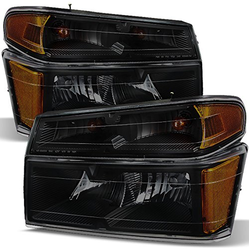 For Chevy Colorado/GMC Canyon Black Smoke Headlights + Signal Lights Driver + Passenger Side Pair Set