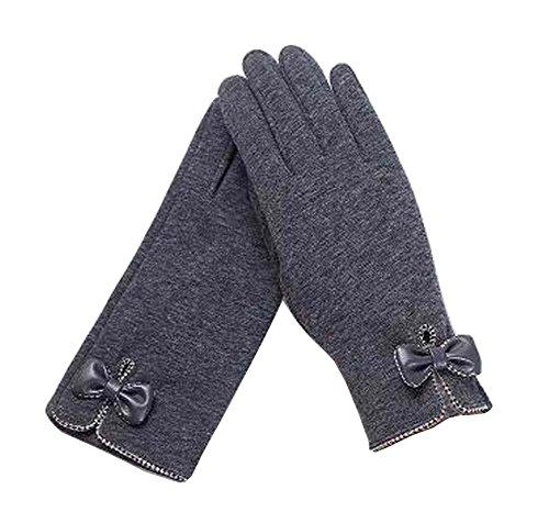 レディースエレガントな暖かい冬の手袋は、手袋の弓灰色を運転