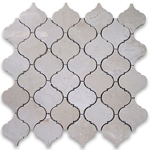 Crema Marfil Marble Medium Lantern Shaped Arabesque Baroque Mosaic Tile Polished