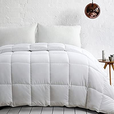 EDILLY Ultra-Soft White Down Alternative Quilted Comforter - Hypoallergenic - All Season - Lightweight - Cozy Duvet Insert - 4 Duvet Loops - Box Stitched by EDILLY
