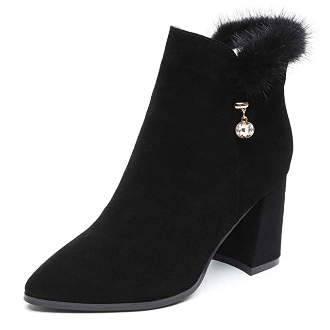 HGDR Bloque De Gamuza Negro Para Mujer Zapatos De Tacón Alto Botas De Tobillo Vestido De Oficina De Trabajo Boda Botas Cortas Zapatos: Amazon.es: Ropa y ...