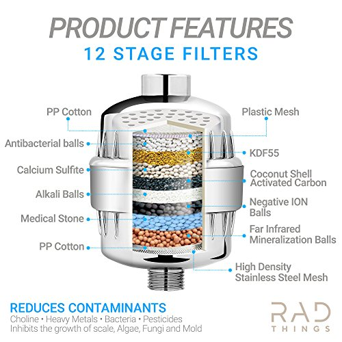 RAD Things Shower filter - Reduces chlorine - water softener and purifies for better hair and skin - safe for babies - 12 stage for all hand held and shower head systems - comes with 2 cartridges by RAD Things (Image #2)