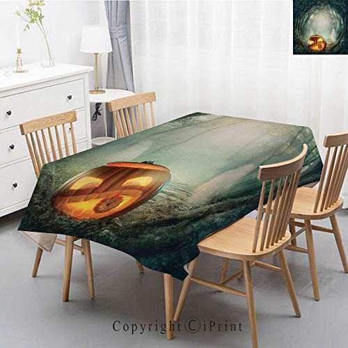 Print Series Rectangle Tablecloth Cotton and Linen Dust proof Absorption Table Cover for Photography Background Dining,40x60 Inch,Halloween Decorations,Scary Halloween Pumpkin Enchanted Forest -