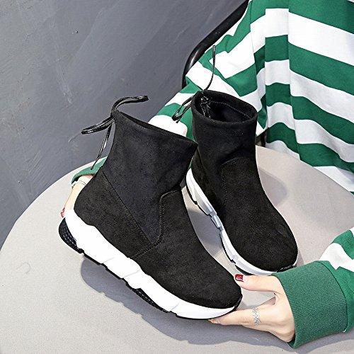 Calzado de Ocio de Fondo Grueso Deportivo Zapatos Altos para Ayudar con Los Zapatos de Tela Elásticos , negro , EUR36.5