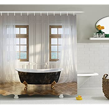 Amazon.com: Ambesonne Antique Decor Shower Curtain, Retro Bathtub In ...