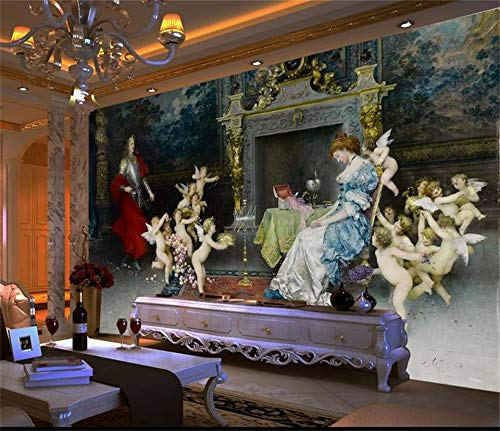3D Photo Wallpaper Custom Mural Living Room Angel Europe Palace Oil Painting Sofa TV Background Non-Woven Wallpaper for Wall 3d-200X140CM