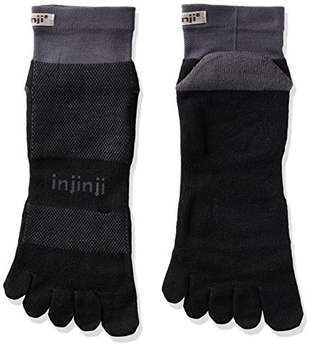 Injinji 2.0 Men's Run Midweight Mini Crew Toesocks, Black/Gray, Small