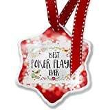 Christmas Ornament Happy Floral Border Poker Player, red - Neonblond
