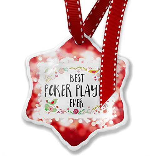 Christmas Ornament Happy Floral Border Poker Player, red - Neonblond by NEONBLOND