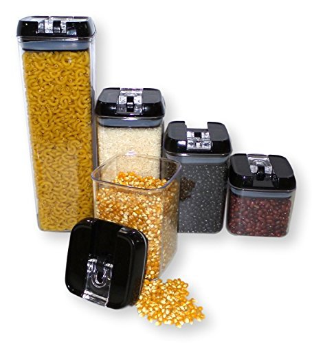 Plastic Storage Containers with Lids- BPA Free Clear Plastic- 5 Piece Set by Happi Home