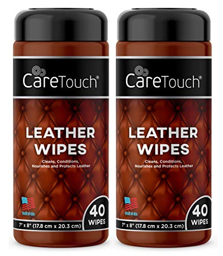 (Care Touch Leather Cleaner Wipes for One-Step Cleaning, Conditioning, and Protecting - Pack of 2, 40 Wipes Each for Cars, Shoes and Other Leather Surfaces)