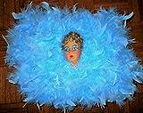 Flapper Boudoir Pillow 1920s Felt Flapper Face, in Blue Feather Lingerie Pillow, Face 100 Years+, Pillow
