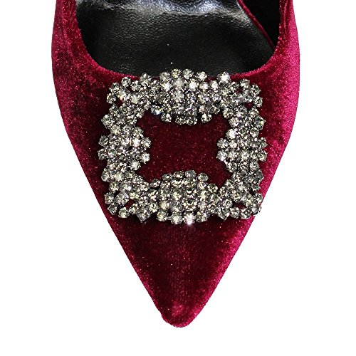 Lunar Branded Celeste Pointed Velvet Court Shoe in Black or Burgundy,3,4,5,6,7,8 Burgundy