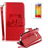 For Samsung Galaxy A5 (2017 Model)/ A520 Case [with Free Screen Protector] Funyye Stylish Cute Animal Panda Pattern Design With Lanyard Strap Scratch Resistant Premium Magnetic Detachable PU Leather Wallet Style Cover with [Credit Card Holder Slots] Case Cover Skin for Samsung Galaxy A5 (2017 Model)/ A520-Red
