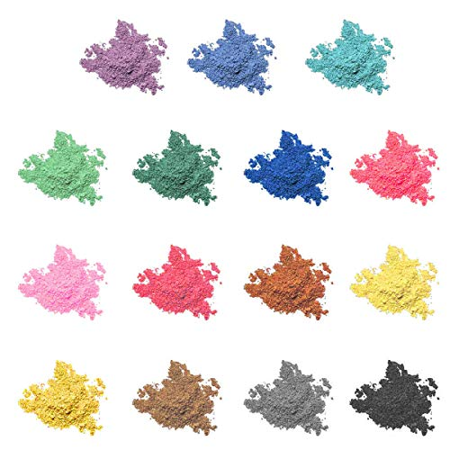 Mica Powder 15 Colors Natural Pigment Powder for Lip Gloss, Epoxy Resin Pigment Dye, Bath Bombs, Candle and Soap Making