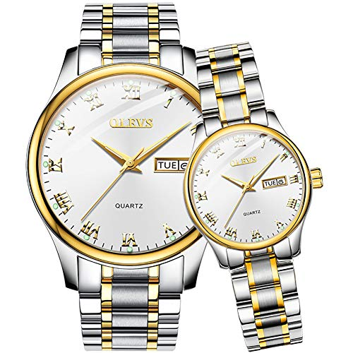 OLEVS Valentines Couple Pair Quartz Watches Luminous Calendar Date Window 3ATM Waterproof Casual Stainless Steel His and Hers Wristwatch for Men Women Lovers Wedding Romantic Gift Set of 2