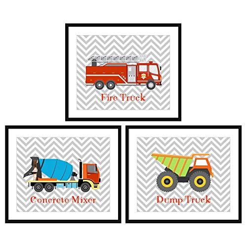 (Bestbuddy Pet Set of 3 (8X10) Unframed Fire Truck Concrete Mixer Dump Truck Art Prints Set Nursery Art Prints Boy Kids Room Wall Decor)