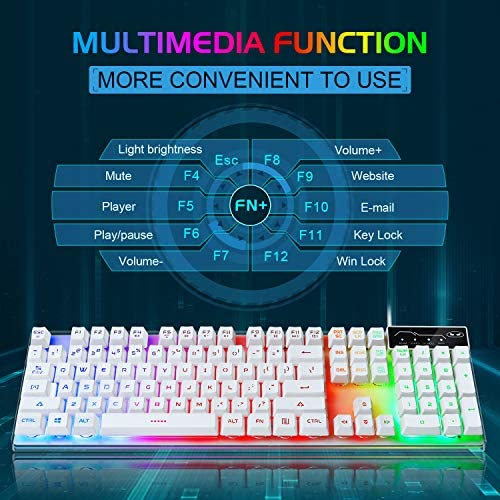 Gaming Keyboard and Mouse Combo, K1 LED Rainbow Backlit Keyboard with 104 Key Computer PC Gaming Keyboard for PC/Laptop(White) 51IJvyeHg3L