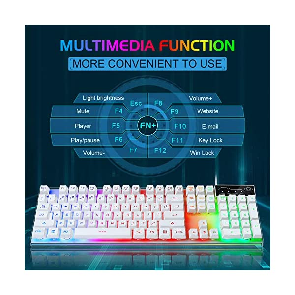 Gaming Keyboard And Mouse Combo K1 Led Rainbow Backlit Keyboard With 104 Key Computer Pc Gaming Keyboard For Pclaptopwhite
