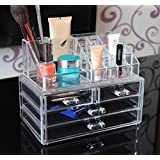 HomCom 501-007 Transparent 4 Drawers Cosmetic Organizer Makeup Storage Box Jewelry Case Display 2 Sections