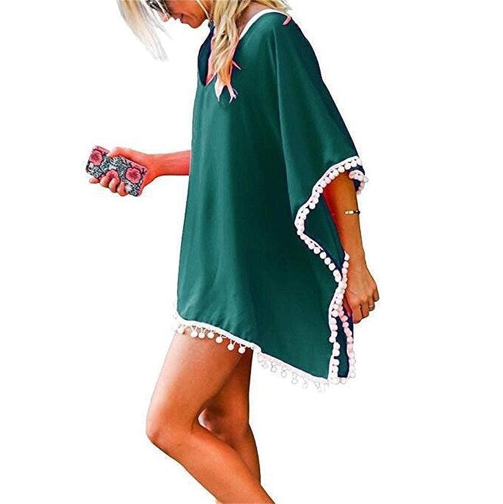 Womens Bikini Bathing Cover Ups Swimwear Solid Color Chiffon Tassel Swimsuit Cover Up Beach Dress Suit