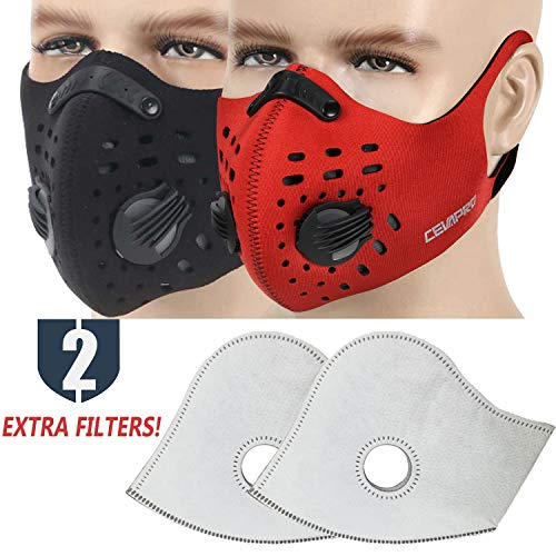 MoHo Dust Mask, Upgrade Version Activated Carbon Dustproof Mask Windproof Foggy Haze Anti-Dust Mask Motorcycle Bicycle Cycling Ski Half Face Mask for Outdoor Activities (Scarlet+Atrous)