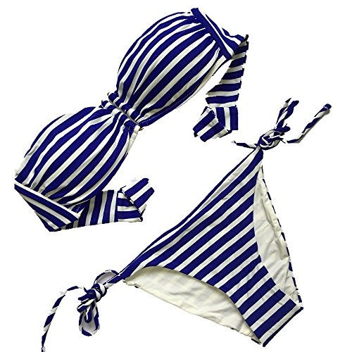 Union Suit Striped (Jonathan Swim Women's Blue and White Striped Bikini Set Separated Bandeau Swimsuit Push Up Padded Bathing Suit (XS))