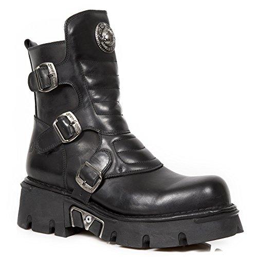 New Rock Bota de Piel Negro hebillas Buckle Leather Boot (41)