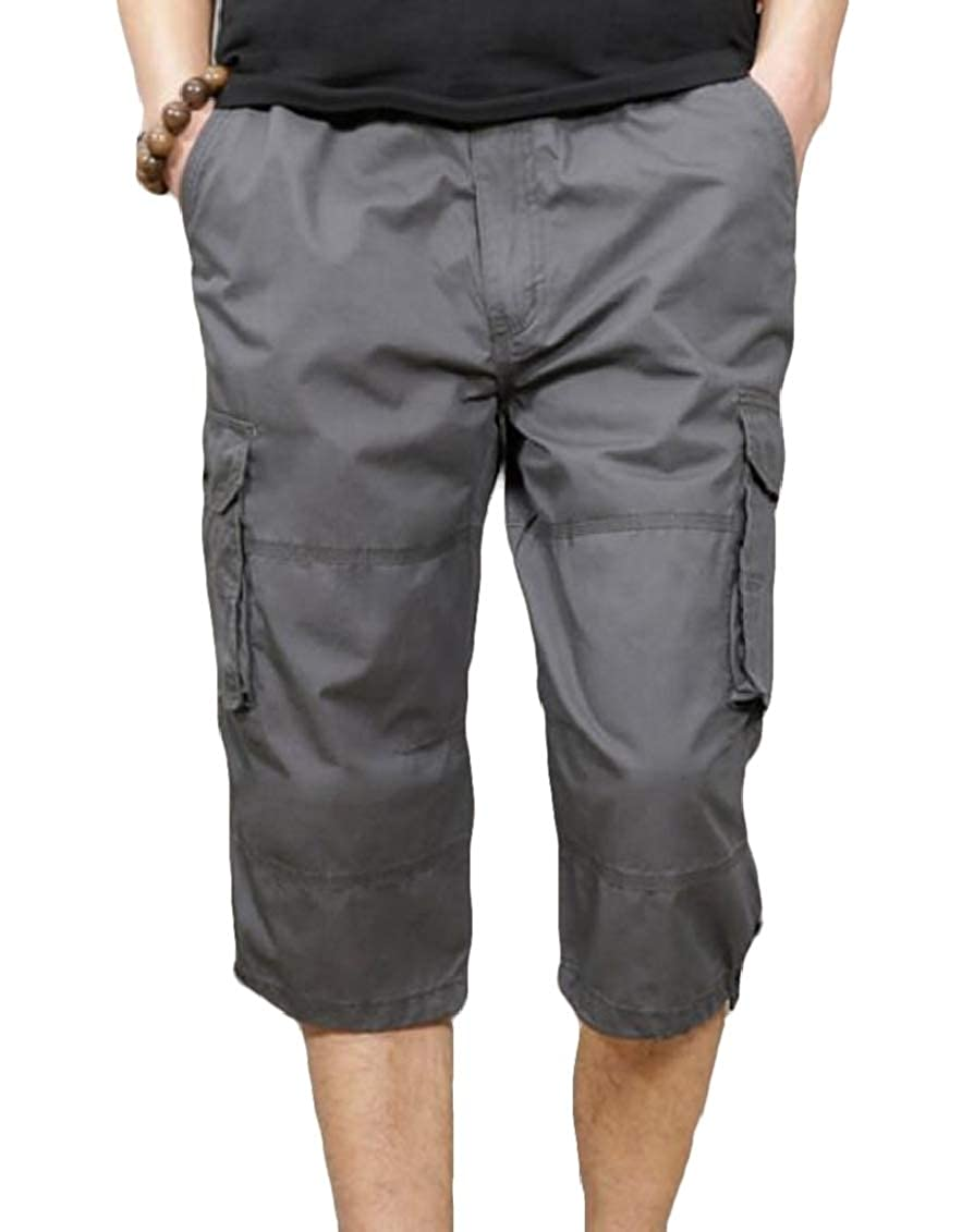 Yaolor Men Outdoor Cropped Multi-Pocket Relaxed fit Casual Cargo Sport Pants