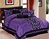 Black and Purple Bedding EMPIRE Sarah 8-Piece Flocking Over Sized Comforter Bedding Set (King, Purple & Black)