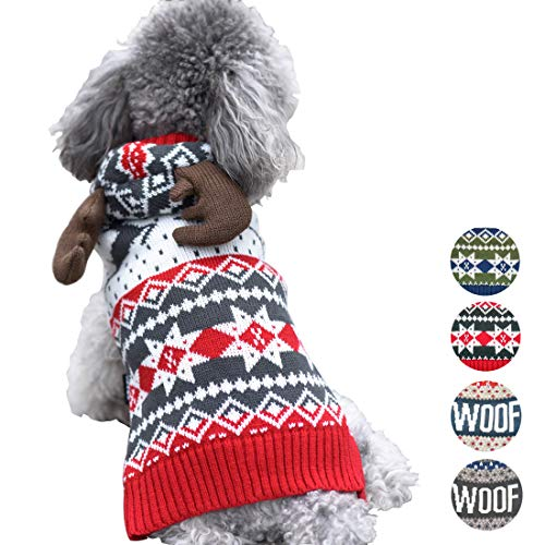 (azuza Dog Sweater Hoodie Reindeer Snowflake Dogs Knitwear Red Pullover Back Length 8