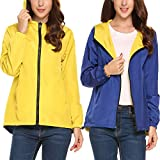 Meaneor Womens Lightweight Rainwear Outdoor Hoodie Cycling Running Windbreaker Jacket(Royal Blue Yellow,Small)