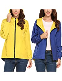 Meaneor Womens Rainwear Waterproof Lightweight Hooded Rain Coats Windbreaker,S-XXL