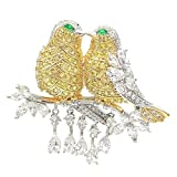Dreamlandsales Fabulous Short Tassel Drops Double Love Yellow Bird Brooches Silver Tone
