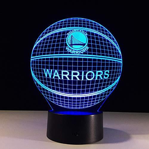Basketball Warriors NBA Logo Golden State Led 3D Night Light 7 Colors Changing Table Desk Lampe Lamp Bedroom Sports Fans ()