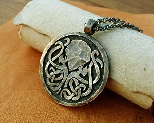 Handcrafted H.P. Lovecraft Cthulhu Octopus Necklace Pendant Jewelry Amulet Made Solid Brass Casting from BaldurJewelry