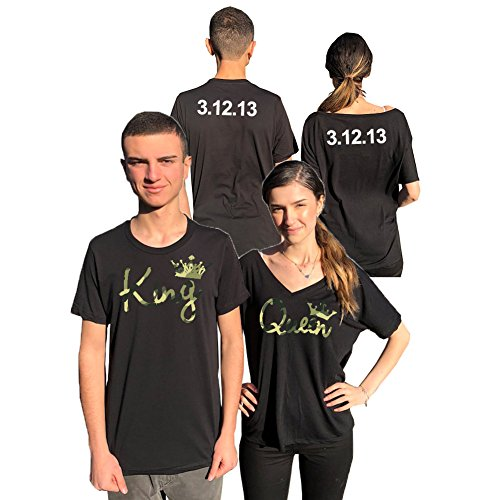 King Queen Personalized Couple Camouflage Flowy Matching Shirts, Back Custom Dates ()