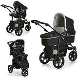 Hauck Viper SLX Trio Set - Carro deportivo de bebes 3 piezas de capazo, sillita y Grupo 0+ para recién nacidos hasta bebes/niños de 15 kg, sistema de arnés de 3 y de 5 puntos, color Caviar Grey